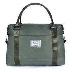 Unisex Large Travel Shoulder Weekender Overnight Bag Handbag Gym Tote Bag with Trolley Sleeve (A ...