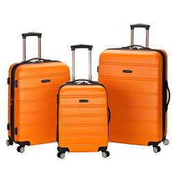 Rockland Melbourne 3 Pc Abs Luggage Set, Orange