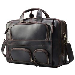 Texbo Men's Solid Top Cowhide Leather Large 17.3 Inch Laptop Briefcase Messenger Bag Tote  ...