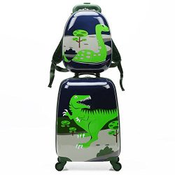 WCK Cartoon Kids Carry on Luggage Set Upright Rolling Wheels Travel Suitcase for Boys (dinosaur set)
