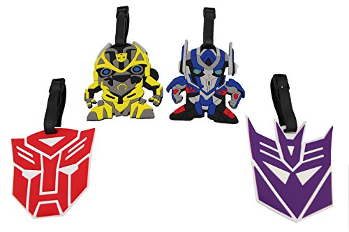 Finex Set of 4 – Transformers Optimus Prime Bumblebee Travel Luggage ID Tag Bag with Adjus ...