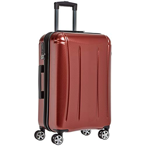 AmazonBasics Oxford Luggage Expandable Suitcase with TSA Lock Spinner, 24-Inch, Red