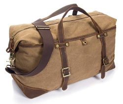 emissary Duffel Bag Carry On Bag [Canvas and Leather Duffle] Large Overnight Bag for Men (Brown  ...