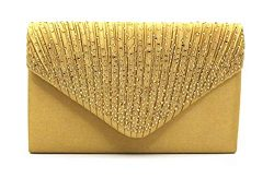 Nodykka Women Evening Envelope Rhinestone Frosted Handbag Party Bridal Clutch Purse Shoulder Cro ...