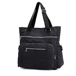 Multi Pocket Nylon Totes Handbag Large Shoulder Bag Travel Purse Bags For Women (X-Black)