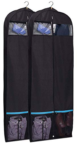 KIMBORA 43″ Black Garment Bag Breathable Travel Storage with 2 Large Mesh Pockets and Carr ...