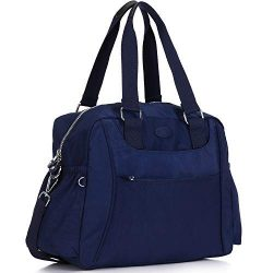 Nylon Travel Tote Cross-body Carry On Bag with shoulder strap (Navy Blue)
