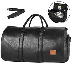 Convertible Travel Garment Bag,Carry on Leather Garment Duffel Bag for Men Women – 2 in 1  ...