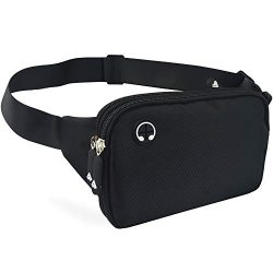 Black Fanny Pack Men Women Waist Bag Pack Quick Release Buckle Water Resistant