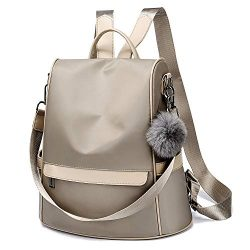 Women Backpack Purse Nylon Anti-theft Fashion Casual Lightweight Travel Shoulder Bag(Khaki Large)