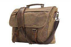 """emissary Laptop Messenger Bag (15.6"""" Computer Bag) Canvas and Leather Shoulder Briefcase ( ..."""