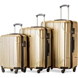 Merax Luggage 3 Piece Set P.E.T Luggage Spinner Suitcase Lightweight 20 24 28inch (Golden)