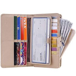 Itslife Women's Big Fat Rfid Leather wallet clutch organizer checkbook holder (Stripe Apricot)