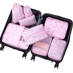 8 pcs Luggage Packing Organizers Packing Cubes Set for Travel (Pink Begonia)