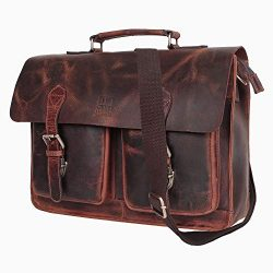 Leather Centric 15 Inch Buffalo Leather Laptop Messenger Bag Office Briefcase College Bag Fits U ...