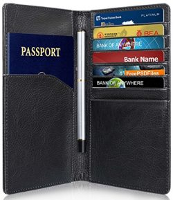 RFID Blocking Passport Holder (10 Slots), GreatShield Theft Proof Leather Wallet [7 Credit Card  ...