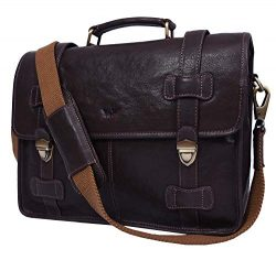 Addey Supply Company 15″ Leather Messenger Bag for Laptop Briefcase Bag 15X4X11 inch Walnut