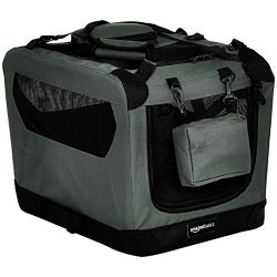AmazonBasics Premium Folding Portable Soft Pet Crate – 21″, GREY