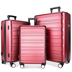 Luggage Sets, SHOWKOO 3 Piece Polycarbonate Durable Hardshell & Lightweight Suitcase Double  ...