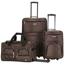Rockland Luggage 3 Piece Printed Luggage Set, Leopard, Medium