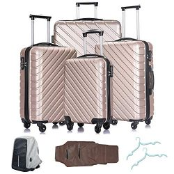 4 Pcs Luggage Set Trolley Spinner Suitcase Hardshell Travel Bag 18″ 20″ 24″ 28 ...