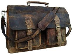 18 Inch Vintage Computer Leather Laptop Messenger Bags for Men Leather Briefcase Shoulder Bag Ma ...