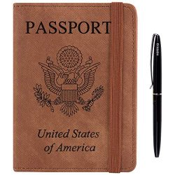 Passport Holder Cover Case -Denim Style Leather RFID Blocking For Women Men With Bonus Pen (Brown)