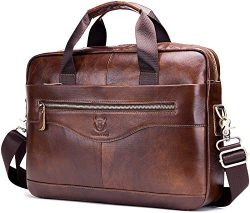 Leather Business Briefcase,Travel Genuine Leather Vintage Messenger Bag Cowhide Laptop Bag with  ...