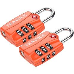 Travoce TSA Approved Luggage Locks, Orange 2 Pack, Inspection Indicator with Alloy Body