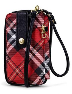 MUNDI Jacqui Vegan Leather RFID Womens Crossbody Cell Phone Purse Holder Wallet (Red Plaid)