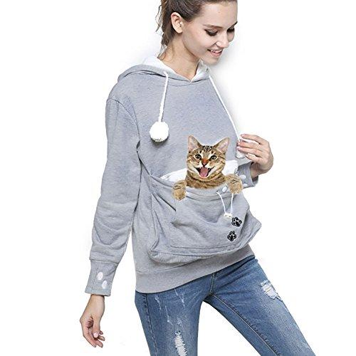 Womens Pet Carrier Shirts Kitten Puppy Holder Sweatshirt Animal Pouch Hood Tops Grey