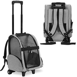 KOPEKS Deluxe Backpack Pet Travel Carrier with Double Wheels – Heather Gray – Approv ...