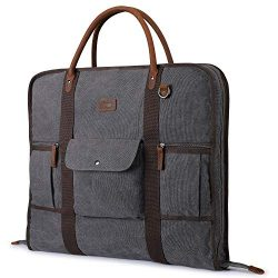 Carry On Garment Bag for Travel S-ZONE Canvas Genuine Leather Trim Men Suit Cover Business Trips ...