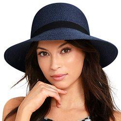 FURTALK Women Wide Brim Sun Hat Summer Beach Cap UPF50 UV Packable Straw Hat for Travel (Medium  ...