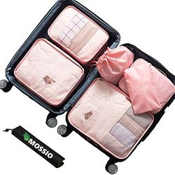 Travel Packing Organizers,Mossio 7 Set Suitcase Cubes Camping Weekender Set Light Pink