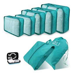 Packing Cubes for Travel, 8Pcs Compression Travel Cubes Set Foldable Suitcase Organizer Lightwei ...