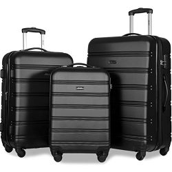 Merax Travelhouse Luggage Set 3 Piece Expandable Lightweight Spinner Suitcase (Black2019)