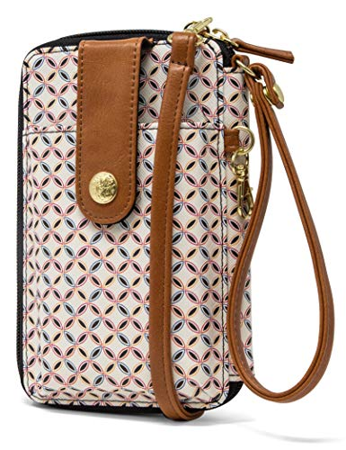 MUNDI Jacqui Vegan Leather RFID Womens Crossbody Cell Phone Purse Holder Wallet (Clean & Crisp)