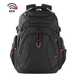 KROSER Travel Laptop Backpack 17.3 Inch XL Heavy Duty Computer Backpack with USB Charging Port R ...