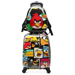 WCK Cartoon Kids Carry on Luggage Set Upright Rolling Wheels Travel Suitcase for Boys (angry-bir ...