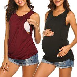 Ekouaer Nursing Maternity Top Pregnant Breastfeeding Shirt Women's Cotton Round Neck Ruche ...