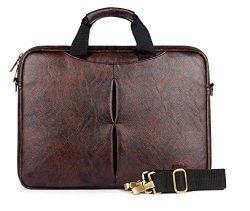 Leatherette 7-Litre Laptop Briefcase, Messenger Bag (Dark Brown)