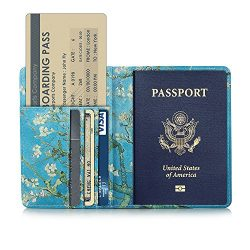 VK Premium leather Travel Business Credit Card Boarding Pass Holder Passport Protective Cover Wa ...