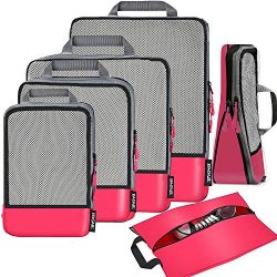 6 Set Compression Packing Cubes Travel Expandable Packing Organizers(Fuchsia)