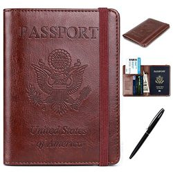 RFID Passport Holder Cover-Travel Wallet Card Case for Women&Man With Bonus Pen (Brown)