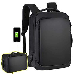 Travel Laptop Backpack, 15.6 Inch Briefcase Convertible Water Resistant Business Travel Rucksack ...