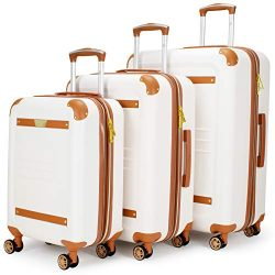 19V69 Italia Vintage 3 Piece Expandable Hard Spinner Luggage Set White