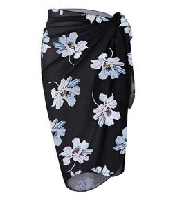 OmicGot Womens Swimwear Chiffon Cover up Floral Prin Beach Sarong Swimsuit Wrap Skirts BlackGrey ...