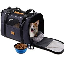 Pet Carrier Airline Approved Soft Sided for Cats and Small Dogs Portable Cozy Travel Pet Bag wit ...