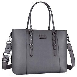 MOSISO Laptop Tote Bag for Women (Up to 13.3 Inch), Water Resistant PU Leather Large Capacity wi ...